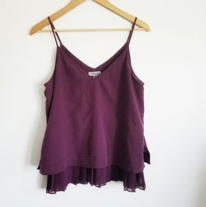 Chelsea28 V neck camisole with ruffle pleats